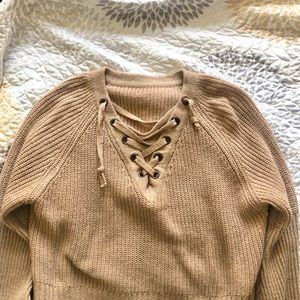 Free People Sweaters - Free People Brown Cross Neck Sweater